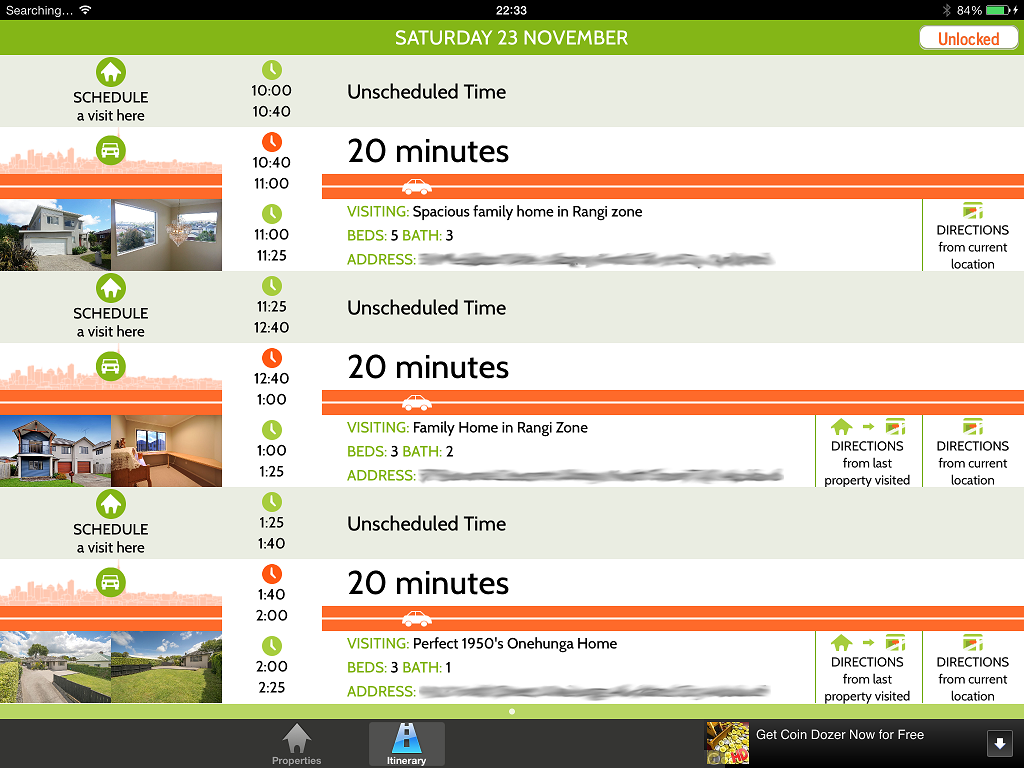 open home itinerary screen shot